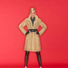 Natural Palomino mink fur and Nappa coat