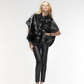 Black mink cape with silver hues