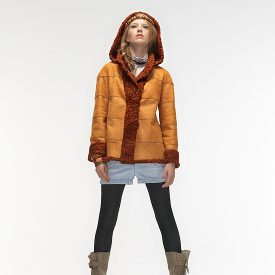 Reversible orange Persian lamb and suede jacket.